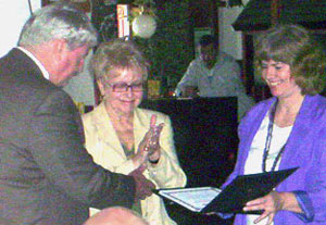 SOV presents certificate to De. Sheila Hixson (center)